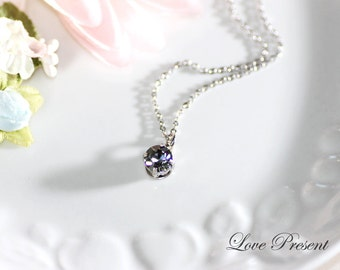 Bridesmaids Jewelry - Classic Elegant Necklace with Sparkly Swarovski Crystal - Choose your color