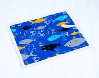 Sharks Chalkboard Mat Reusable Art Draw Toy Boy Blue Quiet Travel Toy