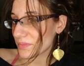 Golden Forest Leaf Earrings, Jaspers, Tigers Eye, Large Golden Leaf Charms, Golden earring hooks, Handmade Earrings, Lotus Growing Jewelry