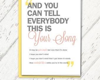 Elton John Wedding Congratulations Card - Qty. 1