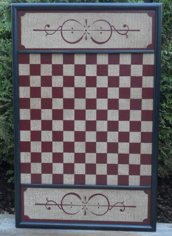 12 Block, Checkerboard, Checkers, Game Board, Primitive, Wood, Folk Art, Game Boards, Hand Painted, Board Game, Game