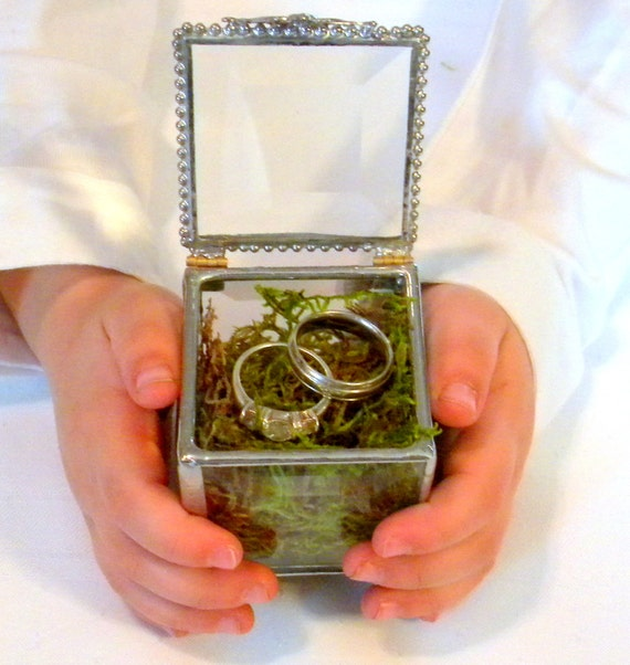 Stained Glass Box Ring Bearer Box Silver Ring By