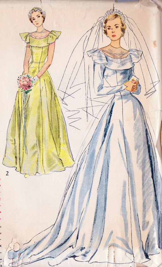 Unavailable listing on etsy for 1940s wedding dress patterns