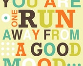Running art, typography print, inspriational quote print,  - ONE RUN