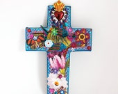 Mexican tin sacred heart and bird on sized upcycled vintage wooden cross // Rainbow bright colorful // One of a kind gift Mothers day gift