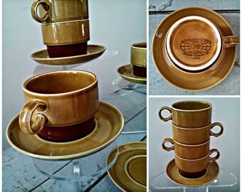 Vintage Canoe Ekco Eterna Stoneware Dinnerware - Near MINT - Earthy Retro Tea Cups or Coffee Cups and Saucers Set