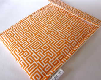 Sale iPad mini OR Kindle Fire OR 7 in nook HD sleeve - orange tangerine mandarin geometric maze lines tablet case ready to ship
