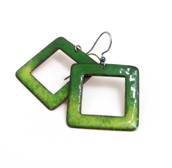 Enamel earrings emerald green and yellow dangle drop summer jewelry fashion geometry. Squares  by Alery bioteam