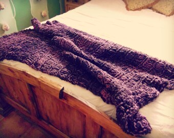 Purple Home Decor Afghan, Purple Home Accents, Grape Decor Throw Blanket Housewares Purple Mini Afghan