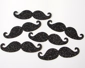 50 Glittered Black Mustache punch die cut scrapbooking embellishments - No697