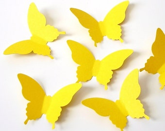 50 Bright Yellow Elegant Butterfly die cut punch scrapbook embellishments - No359