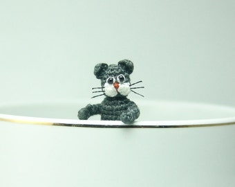 1.2 inch naughty grey cat - extreme tiny crochet cat - amigurumi miniature stuffed animal