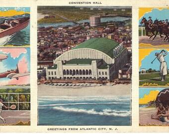 Greetings From Atlantic City, NJ - Vintage  Postcard