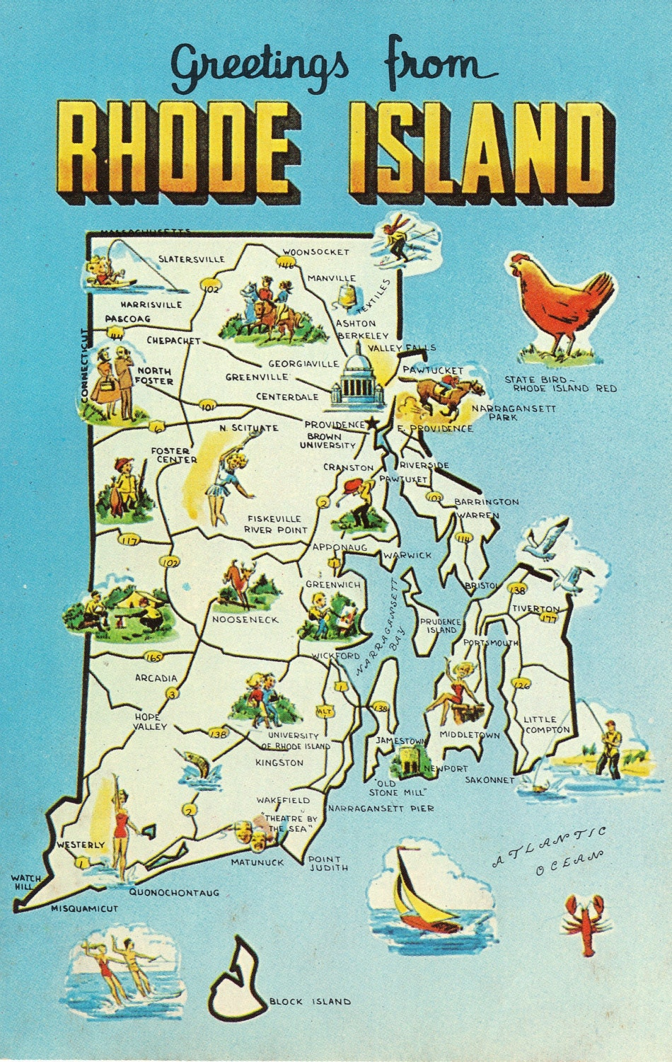 Rhode Island State Map Vintage Postcard Greetings From