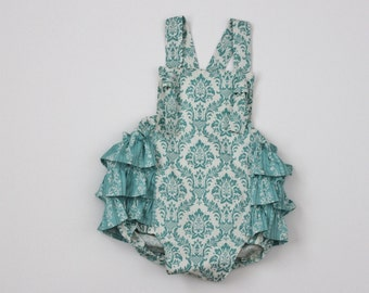 Blue Damask Baby Romper 0-3m RTS