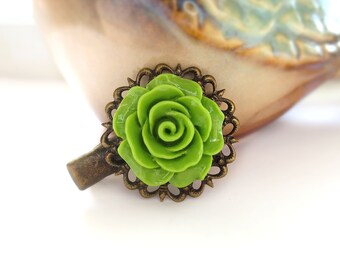 Green Rose Antique Brass Alligator Hair Clip