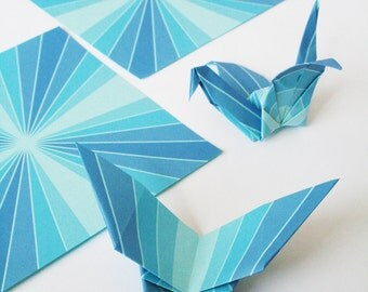 Origami Paper - Bluebird Geometric Origami Paper,  5 inch squares for folding origami, Blue, Symmetrical,  DIY gifts