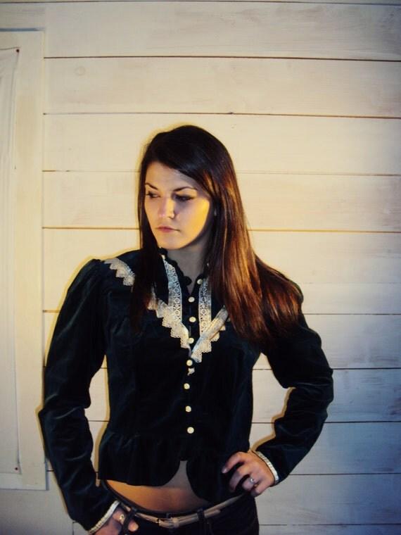 Gunne Sax Shirt / Prairie Shirt / VELVET Lace / Gunne Sax 70s s,m