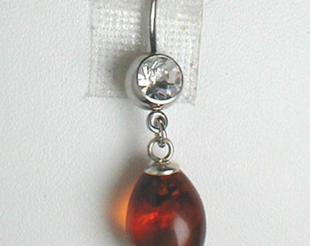 Unique Belly Ring - Genuine Natural Blatic Amber