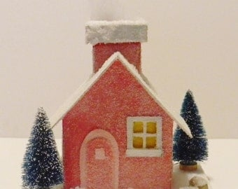 Vintage Putz Cottage Pattern & Instructions Christmas Village Glitter House Design