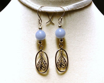 "Angelite and Sterling Silver Dangle Earrings--""Crying on the Inside"""