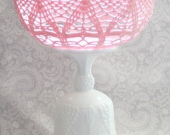 Pink Crocheted Lacy Delicate Bowl Home Decor