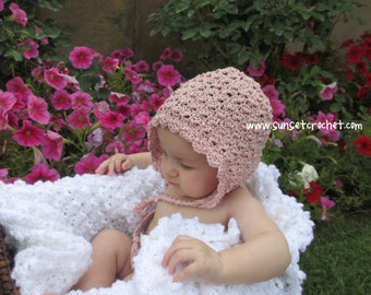Vintage Shells Bonnet Crochet Hat Pattern