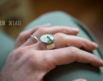 Photo Ring - Lily pads- Whimsical Adjustable Photo Ring