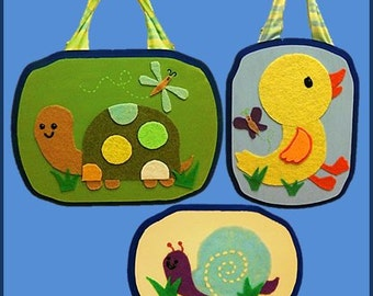 "M2M TIDDLIWINKS ""In The Pond"" NURSERY Decor, Set of 3 Plaques, Turtle Duck Frog Art, Spring theme, Cute Pond Animal Art, Baby/Kid's Room Art"