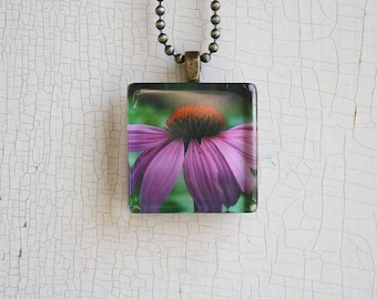 CLEARANCE~Glass Photo Pendant Necklace Purple Coneflower, Buy One Get One Free