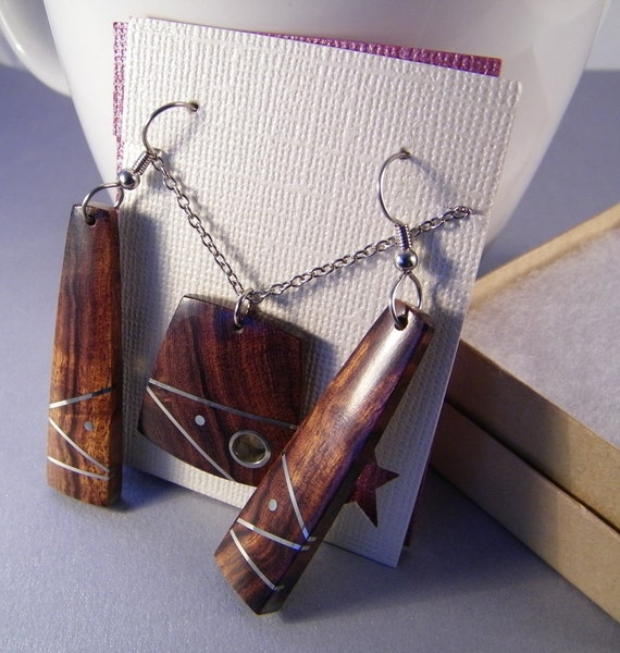 Gift Set For Her Wooden Jewelry Handmade Hand-Inlaid