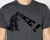 mens Godzilla Science t shirt- American Apparel asphalt gray- available in S, M, L, XL, XXL- WorldWide Shipping