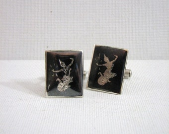 Vintage Siam Sterling Silver Nielloware Cuff Links ... Goddess of Lightening, signed Siam Sterling, 1950s