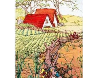 Farm House Card Bunnies in the Garden Greeting Card