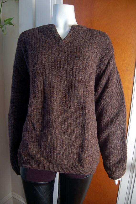 Slouchy Brown Cotton Waffle Weave Henley Sweater Bill Blass