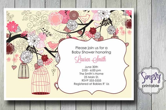 Birdcage Shower Invitation