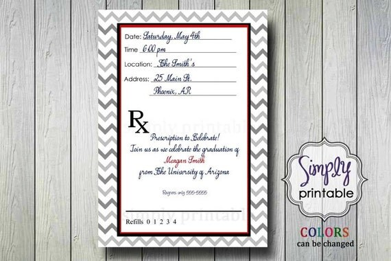 Prescription Graduation/Retirement Party Invitation for Doctor or Pharmacist