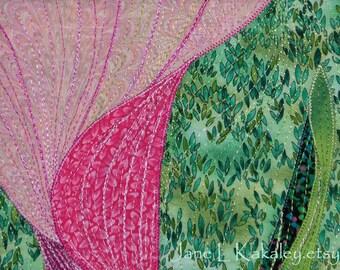 Original art quilt - Zantedeschia Aethiopica - Pink Vortex  by Jane L Kakaley