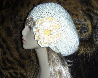 Crochet Beret Hat with Removable Flower - Free Shipping to US and Canada