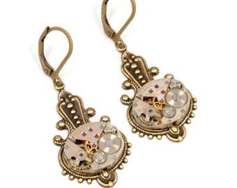 Steampunk Earrings, Clip On Or Pierced Earrings Steampunk Jewelry Antique Brass Steampunk Wedding Steam Punk Jewelry by VictorianCuriosities