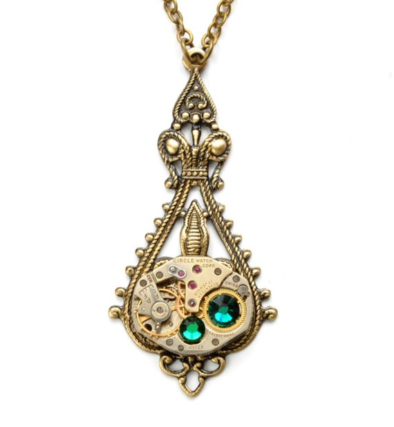 MAY Steampunk Necklace EMERALD Green Steampunk Jewelry Steampunk Watch Necklace Antique Brass Steampunk Jewelry by Victorian Curiosities