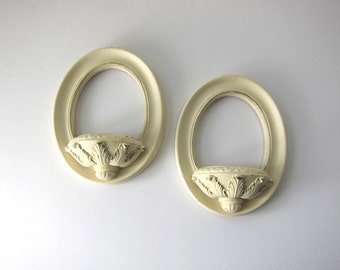 Pair of Shabby White and Gold Oval Plaster Wall Pockets