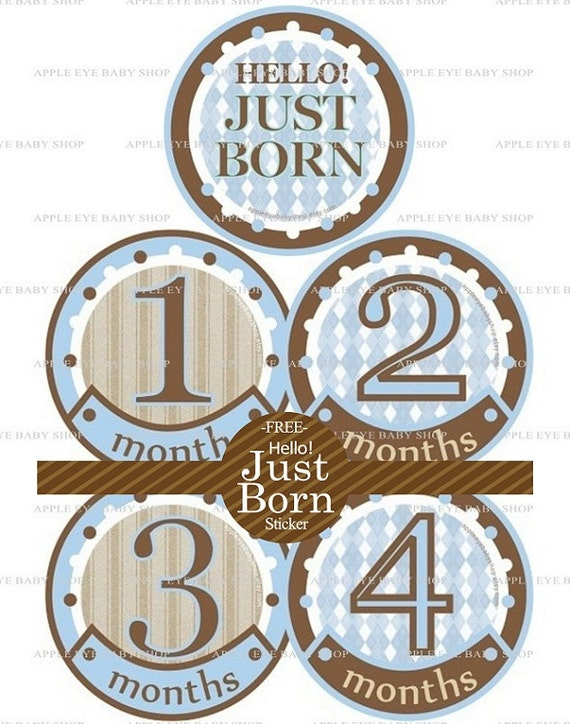 Baby Monthly Stickers FREE Baby Month Milestone Sticker Baby Month Stickers Baby Boy Bodysuit Sticker Photo Props Blue Brown