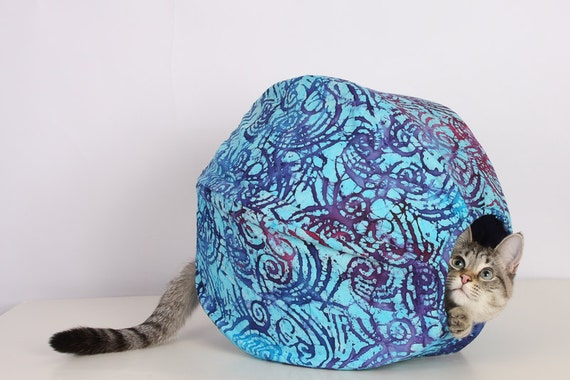 Cat Ball Kitty Cave Bed in Aqua Blue and Purple Cotton Batik