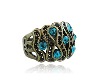 Get 15% OFF - Vintage Style Antique Bronze Ring with Swarovski Blue Zircon Chaton Crystal Rhinestones - Mother's Day SALE 2017