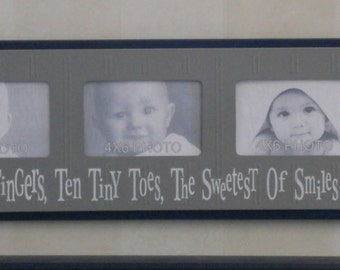 Ten Little Fingers Ten Tiny Toes The Sweetest Of Smiles And A Cute Little Nose - NAVY BLUE and GRAY Baby Nursery Wall Decor 4x6 Photo Frame