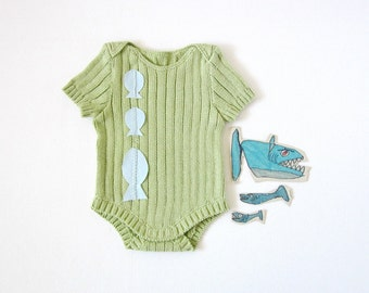 Knitted ribbed onesie in ocean green with fishes. 100% cotton. READY TO SHIP size newborn.