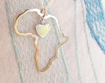 Africa necklace Africa map pendant heart in Africa custom country necklace