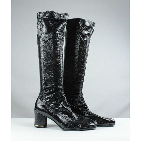 reserved for w black patent leather go go boots by