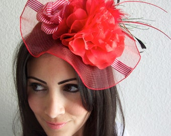 "Red Fascinator Hat - ""Grace"" Hat Fascinator Headband with Feathers and Quills"